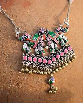 127f0950f Vibrant Silver Plated Necklace With Elephant Motifs