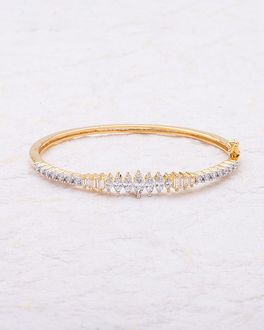 Gold Plated Cuff Bracelet With Cz Sparkling Stones