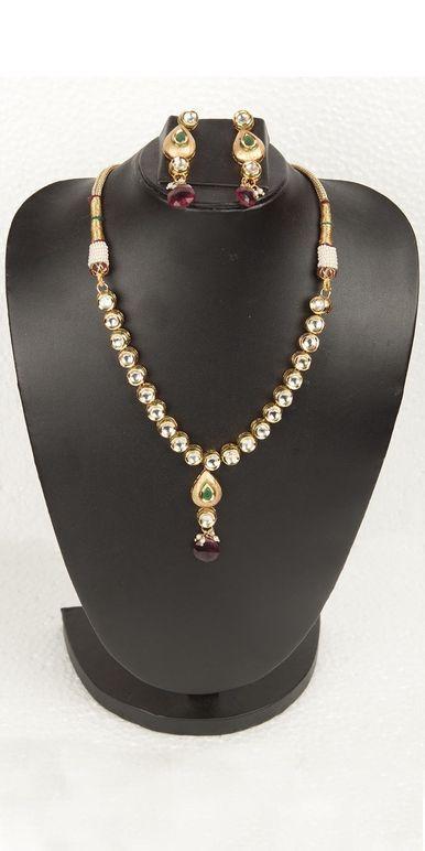 a1f272a08c Buy Designer Necklace Sets Simple And Elegant Antique Finish Kundan ...