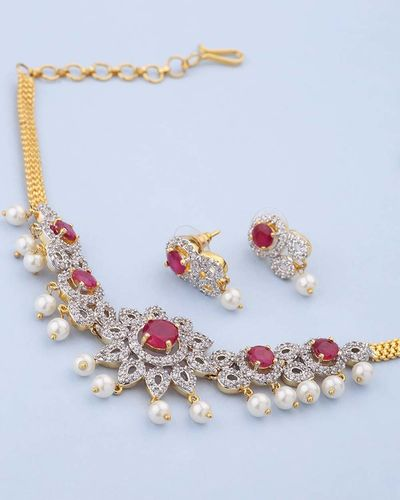 a56c2598d Buy Designer Necklace Sets Impressive Red and White Stones Studded Choker  Necklace Set Online | VOYLLA
