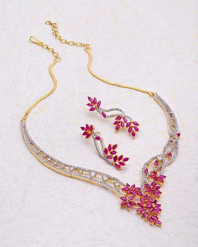 6a47ca4e7 Buy Designer Necklace Sets Glorious Ruby CZ Blooming Dales Necklace Set  Online
