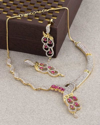 3362f717e Buy Designer Necklace Sets Glorious Necklace Set Encrusted with Ruby CZ  Online