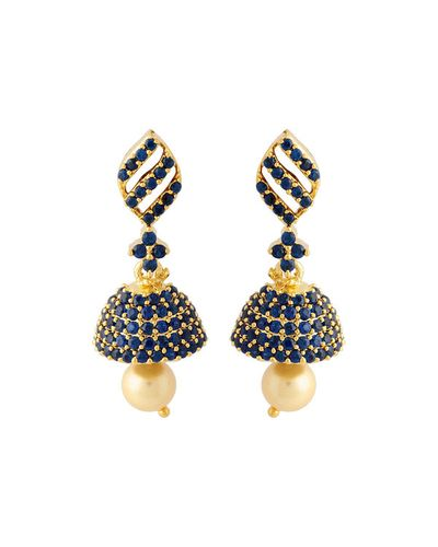 Stylish Jhumki Earrings With Shiny Blue Stones Embellishment