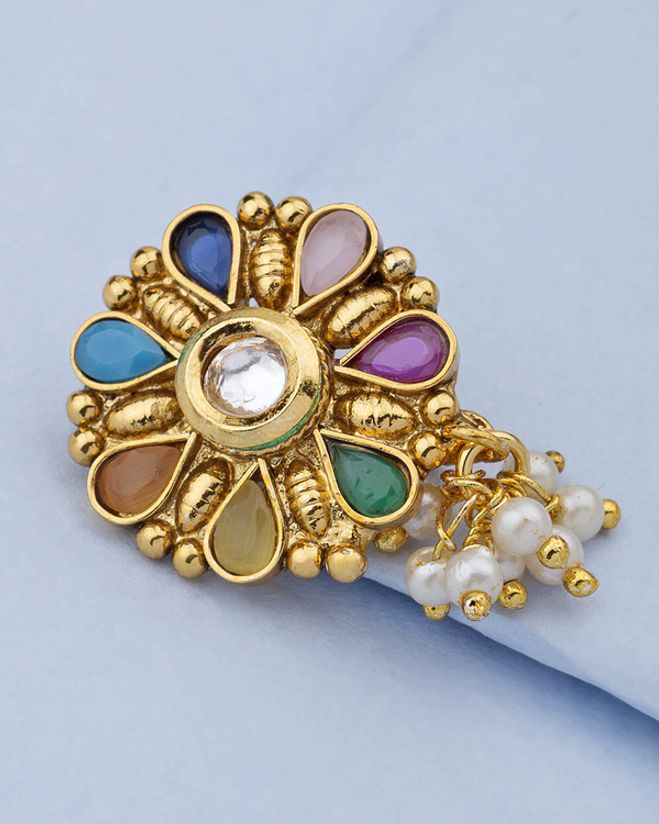Floral Design Nose Pin Studded With White Kundan Colorful Stones
