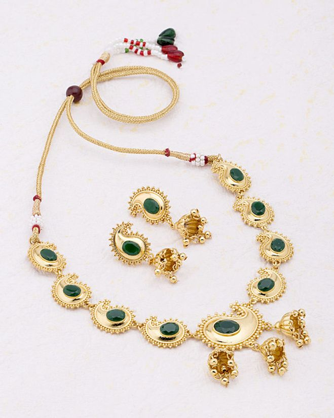 Rajputi Style Ethnic Gold Plated Necklace Set From Jhankar
