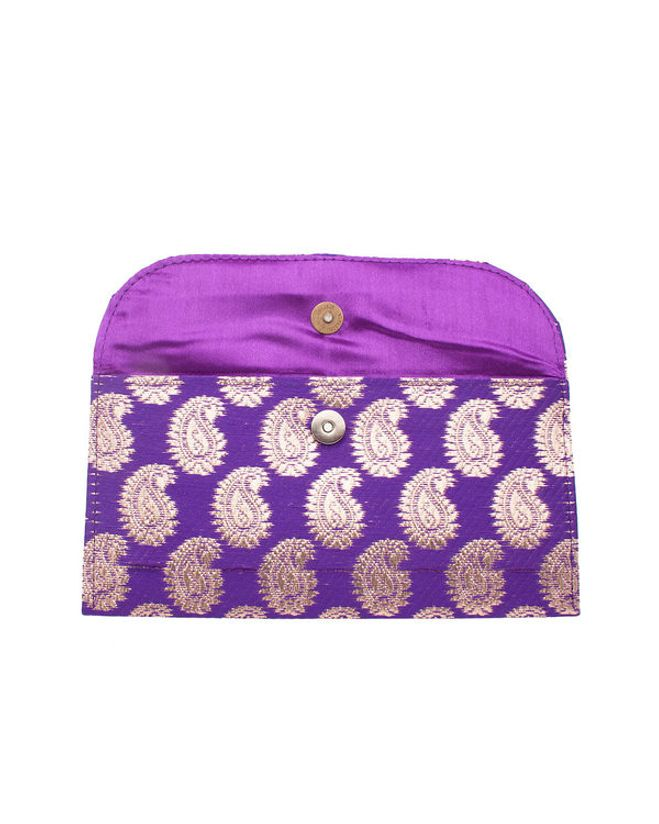 Purple Brocade Pouch Featuring Red Stone Studded Brooch; Single Pocket |  VOYLLA Fashions