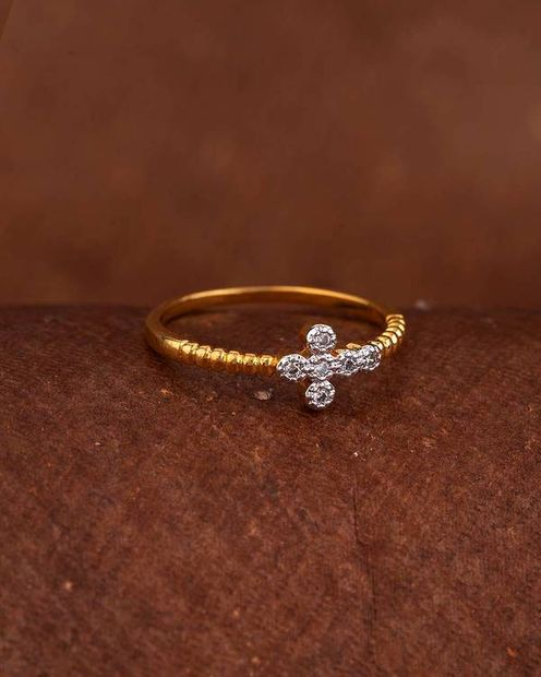 CZ Tiny Floral Motif Ring thumbnail