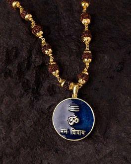 Blue Enamelled Mahadev OM Rudraksha Necklace