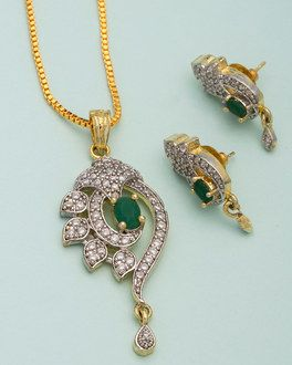 0a9ebf7f4 Designer Pendant Set With Green Stones   Shiny Stones
