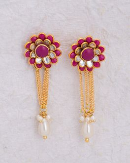 ba148ee3c8c Studded Floral Earrings with Pearls