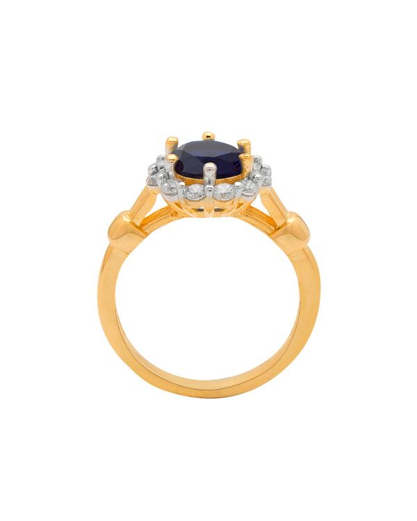 e88f7678f20ac Floral Design Ring For Women Studded With Blue Stone & CZ