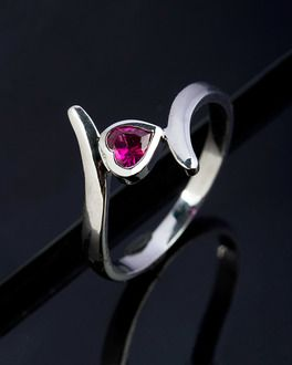 Sterling Silver Pink Heart CZ Ring In Rhodium Finish