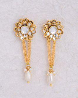 4c40d95ef Gem Studded Floral Drop Earrings