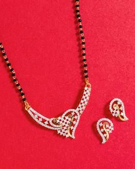 Ethnic Style Earrings and Mangalsutra