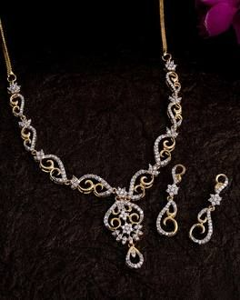 c23d1c613dd Buy Silver, Gold Plated, CZ, Pearl Diamond Necklace Sets for Women ...